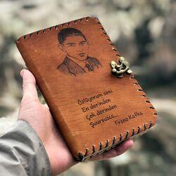 Franz Kafka Tasarımlı Deri Defter - Thumbnail