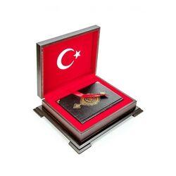 İsme Özel Ahşap Kutulu Türk Bayrak Kur'an-ı Kerim Hafız Boy - Thumbnail